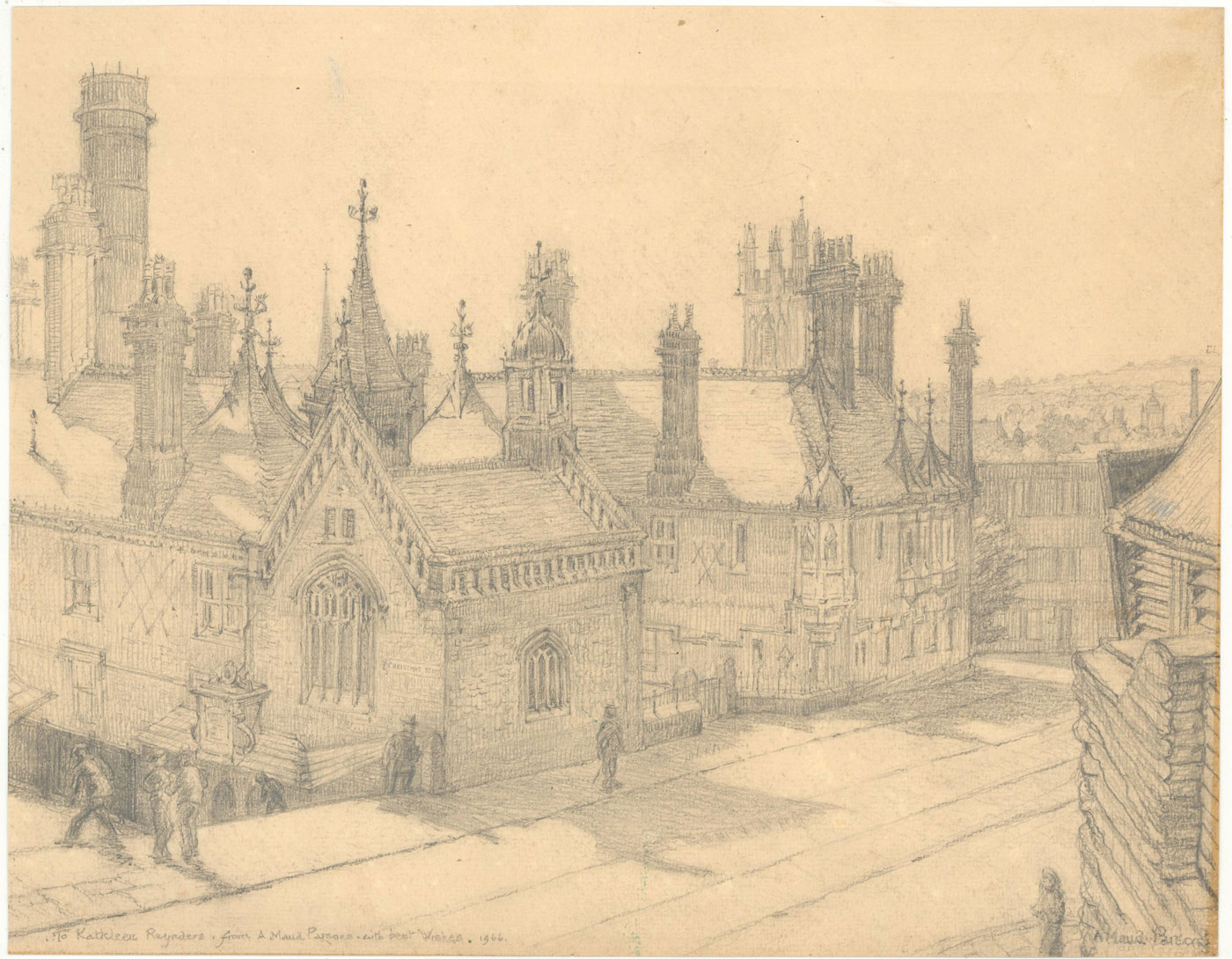 Ada Maud Parsons Signed 1966 Graphite Drawing The Christmas Steps