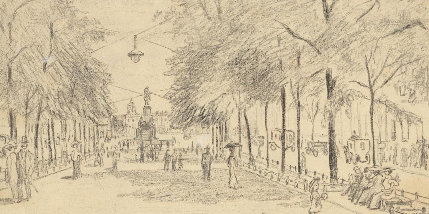 Details About Julius Rosenbaum 1879 1956 Charcoal Drawing Under The Linden Trees Berlin