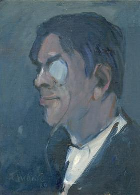Eric Rolfe - 1989 Oil, Man with a Monocle