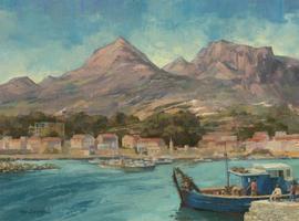 Reg Gardner - Contemporary Oil, Mediterranean Harbour Scene