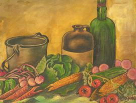 L. Pagola - Signed 20th Century Oil, Harvest Still Life