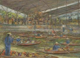 Renee Young - 20th Century Oil, Harbour Market with Boats & Figures