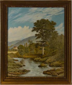 Herbert Oswald Lumby ARBSA (1884-1955) - 1950 Tempera, The Mill Stream