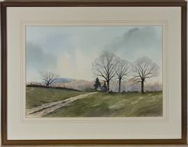 Stuart James - Signed & Framed 1988 Watercolour, On Marlborough Downs