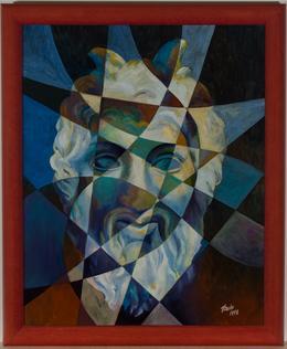 P. Leake - Signed & Framed 1998 Oil, Pan, God of Nature