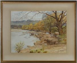 Jonathan Edward Hodgkin RBA (1875-1953) - 1943 Watercolour, Rocky River Island