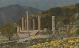 P. Fishwick - 1973 Oil, Roman Ruins in an Italian Landscape