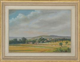 Framed 20th Century Pastel - French Village Landscape
