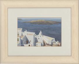 Christoforos Asimis (b.1945) - Framed Watercolour, Santorini View