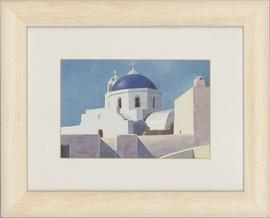 Christoforos Asimis (b.1945) - Framed Watercolour, Santorini Cathedral