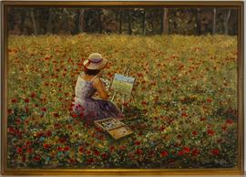 Peter Leath (b.1935) - Framed 20th Century Oil, Lady Painting in a Poppy Field