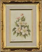 Joan Campbell SWA - Signed & Framed Mid 20th Century Acrylic, Christmas Roses