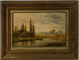 Framed Early 20th Century Oil - Punting on the River