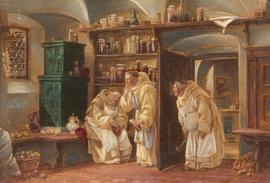 A Pair of Early 20th Century Oils - Monks in the Larder