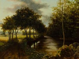 J. D. MacLaughlin - 20th Century Oil, River View with Trees