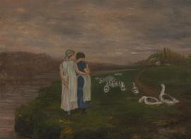 Late 19th Century Oil - Two Girls Herding Geese