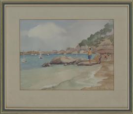R.J. Pring - 1990 Watercolour, On the Rocks