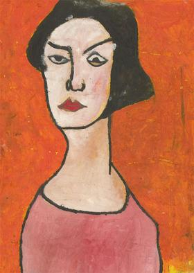 Ben Carrivick - Signed Contemporary Oil, Orange and Pink Portrait Study