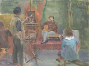 Prue Sapp - Excellent Mid 20th Century Oil, Life-Drawing Class