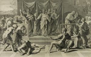 Nicolas Dorigny after Raphael - 18th Century Engraving, The Death of Ananias