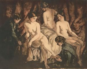 Istvan  Prihoda (1891-1965) and Bela Grunwald (1867-1940) -  Drypoint, La Spalat