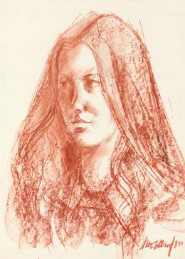 Peter Collins ARCA - Signed 1980 Crayon, Portrait of a Woman