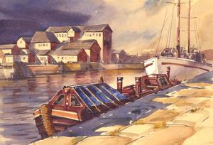 Clifford H. Thompson (1926-2017) - 1993 Watercolour, Harbour Scene with Vessels