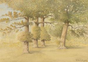 Herbert Oswald Lumby ARBSA (1884-1955) - 1940 Watercolour, Oak Trees, Worcester