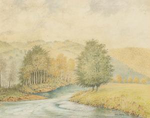 Herbert Oswald Lumby ARBSA (1884-1955) - 1939 Watercolour, The River Teme