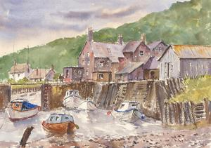John A. Case - Contemporary Watercolour, Coastal Harbour Street Study