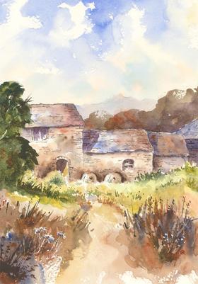 John A. Case - Contemporary Watercolour, Floral Cottage Study