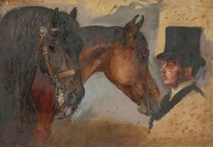 Alfred William Strutt (1856-1924) - Late 19th Century Oil, Horses and Groom