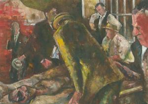 James McLernon (1935-2012) - 20th Century Oil, Figures Over Lying Body