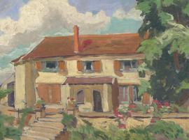 Mid 20th Century Oil - Country House with Figure