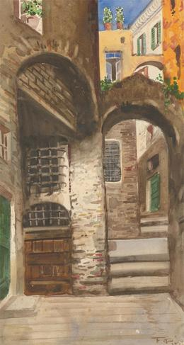 F. Pini - Signed Mid 20th Century Watercolour, Mediterranean Archway Study