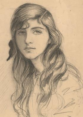 Stanley Ashton - Early 20th Century Graphite Drawing, Portrait of a Girl