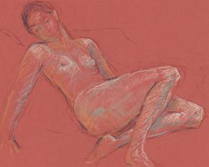 Ann Matthews - 20th Century Pastel, Reclining Nude Study of a Lady