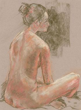 Ann Matthews - 20th Century Pastel, Seated Female Nude Study