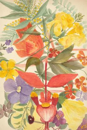 P.W.N.G - Late 19th Century Watercolour, Vibrant Flower Still Life Study