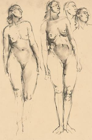 Nancy Audrey Liddiard - Early 20th Century Pen and Ink Drawing, Nude Study