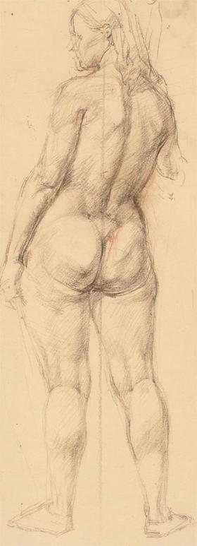 Nancy Audrey Liddiard - 1938 Coloured Pencil, Study of a Standing Female Figure