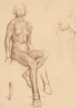 Nancy Audrey Liddiard - Early 20th Century Pen and Ink, Nude Female Study
