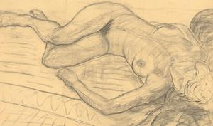 A.A. Graham-Bishop - 20th Century Charcoal Drawing, Reclining Female Nude