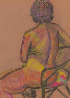 A.A. Graham-Bishop - 20th Century Pastel, Vibrant Study of a Seated Figure