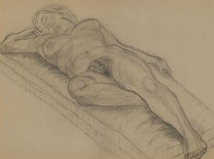 A.A. Graham-Bishop - 20th Century Charcoal Drawing, Sleeping Female Nude