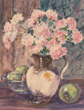 Henry E. Foster (1921-2010) - Mid 20th Century Watercolour, Pinks & Apples