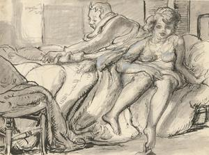 Harold Hope Read (1881-1959) - 1923 Pen and Ink Drawing, Getting Out of Bed