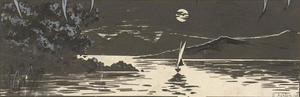Stanley Ashton - Signed 20th Century Pen and Ink Drawing, Sunset over a Sailboat