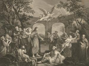 Ravenet & Picot after Hogarth - 1772 Engraving, The Pool of Bethesda