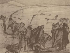 Aldo Carpi (1886-1973) - Mid 20th Century Lithograph, Retreating Serbians